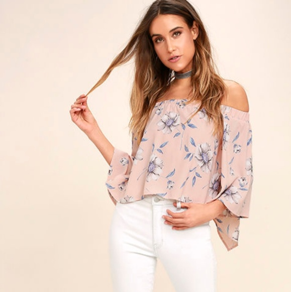 9c5aa76b110 Blush pink floral off the shoulder top NWT